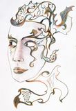 Mask in the form of a female face with patterns. Color pencil drawing. Mask in the form of a female face with patterns. Color pencil drawing vector illustration
