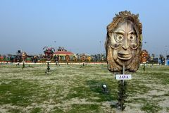 Mask Garden. Apart from working on the wax museum, the authorities will also set up a mask garden where masks, replicas made of fibre glass representing art stock photography