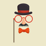 Mask gentleman hat and glasses mustache bowtie Royalty Free Stock Image