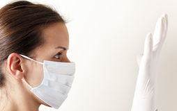 Mask glove again influenza Royalty Free Stock Image