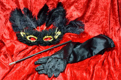 Mask ,gloves and cigarette holder Stock Image