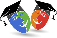 Mask graduation cap logo Stock Images