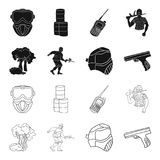 Mask, gun, paint, inventory .Paintball set collection icons in black,outline style vector symbol stock illustration web. Mask, gun, paint, inventory .Paintball Royalty Free Stock Photography