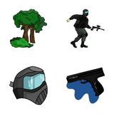 Mask, gun, paint, inventory .Paintball set collection icons in cartoon style vector symbol stock illustration web. Mask, gun, paint, inventory .Paintball set Stock Photos
