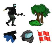 Mask, gun, paint, inventory .Paintball set collection icons in cartoon style vector symbol stock illustration web. Mask, gun, paint, inventory .Paintball set Stock Image