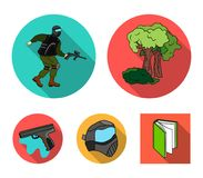 Mask, gun, paint, inventory .Paintball set collection icons in flat style vector symbol stock illustration web. Mask, gun, paint, inventory .Paintball set Royalty Free Stock Photo