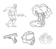 Mask, gun, paint, inventory .Paintball set collection icons in outline style vector symbol stock illustration web. Mask, gun, paint, inventory .Paintball set Stock Photos