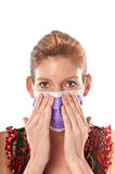 Mask and hands. Caucasian woman in his 40s protecting herself from pandemic virus Stock Photo