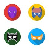 Mask on the head and eyes. Super Hero Mask set collection icons in flat style vector symbol stock illustration web. Royalty Free Stock Photography