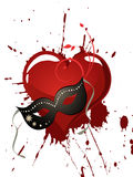 Mask and heart. Illustration of a venetian mask on a red heart Royalty Free Stock Photos