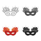 Mask icon in cartoon style isolated on white background. Theater symbol stock vector illustration Stock Photos