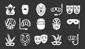 Mask icon set grey vector. Mask icon set vector white isolated on grey background Stock Photography