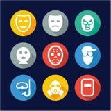 Mask Icons Flat Design Circle Stock Photo