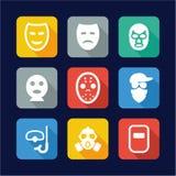 Mask Icons Flat Design Royalty Free Stock Photo