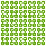 100 mask icons hexagon green. 100 mask icons set in green hexagon isolated vector illustration Royalty Free Stock Photo