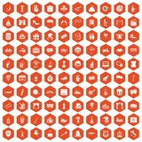 100 mask icons hexagon orange. 100 mask icons set in orange hexagon isolated vector illustration Stock Illustration