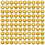 100 mask icons set gold. 100 mask icons set in gold circle isolated on white vector illustration Vector Illustration