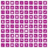 100 mask icons set grunge pink. 100 mask icons set in grunge style pink color isolated on white background vector illustration Stock Image