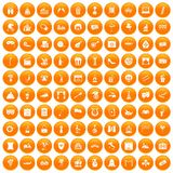 100 mask icons set orange. 100 mask icons set in orange circle isolated on white vector illustration Royalty Free Illustration