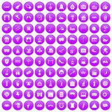 100 mask icons set purple. 100 mask icons set in purple circle isolated on white vector illustration Vector Illustration