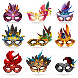 Mask Icons Set. Mask realistic icons set with feathers and jewels  vector illustration Stock Images