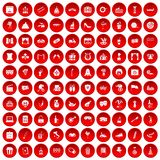 100 mask icons set red. 100 mask icons set in red circle isolated on white vector illustration Royalty Free Stock Photography