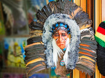 Mask Indians, decorated with fur and feathers. Stock Photos