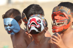 Mask. The kids are doing a mask dance festival in Solo, Central Java, Indonesia Stock Photos