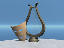 Mask and lyre. Theatrical comic mask and lyre. 3d illustration Royalty Free Stock Images