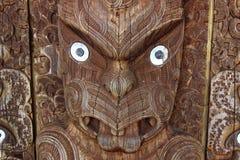 Mask the maori art. Wooden maori art of the face of the maori god in New Zealand Royalty Free Stock Photos
