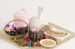 Mask with mulberry, ginseng and honey. Stock Photo