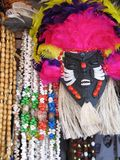 Mask with necklace. Mask aboriginal with necklace of seeds - Brazil Royalty Free Stock Images