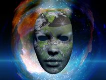 Mask in the space. Mask with O`Neill cylinder in the space. Human elements were created with 3D software and are not from any actual human likenesses Stock Image