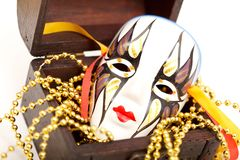Mask in an old box Royalty Free Stock Photos