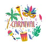 Mask with palm trees and trumpet with drum to festival. Vector illustration stock illustration
