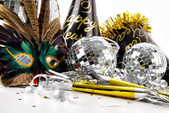 Mask and party hats for New Years Eve Stock Photo