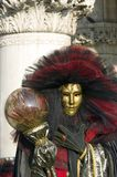 Mask with pillar. Carnival mask, great event in Venice Stock Photo