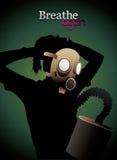Mask for polution. Illustration composition over a green background Stock Image