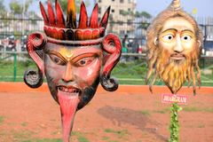 Mask Replica. Apart from working on the wax museum, the authorities will also set up a mask garden where masks, replicas made of fibre glass representing art stock image