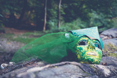 Mask on a rock Stock Photography
