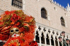 Mask in S.Marco square. An nice and coloured mask in S.marco's square during the first official Carnival day in Venice Royalty Free Stock Photo