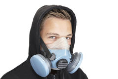 Mask for safety. Young male with a mask for safety Royalty Free Stock Photography