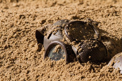 Mask on sand. Vintage mask burried in sand stock photos