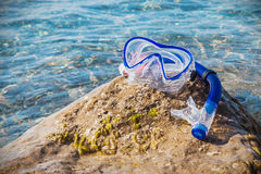 Mask for scuba diving and snorkel to swim at the beach. Focus on the mask Stock Photography