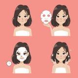 Mask sheet treatment by beautiful woman. stock illustration