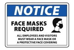 Free Mask Should Be Worn Sign, Face Mask Required Notice Board Vector Stock Photos - 185989523