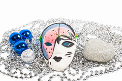 Mask with silver beads and blue balls Stock Photography