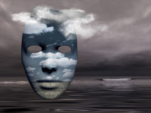 Mask in the sky. Mask with fields in cloudy sky Royalty Free Stock Image