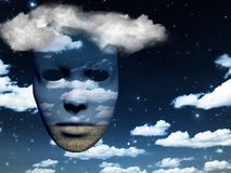 Mask in the sky. Mask with fields in cloudy sky. Human elements were created with 3D software and are not from any actual human likenesses Stock Photos