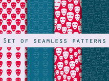 Mask with a smile seamless pattern. A set of patterns to the first on April Fools' Day. Royalty Free Stock Images